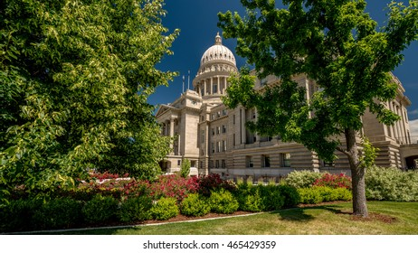 Flower gardens and park with the state capital of Idaho