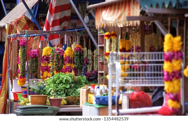 Flower garlands for sale at outdoor market in Little India,Singapore