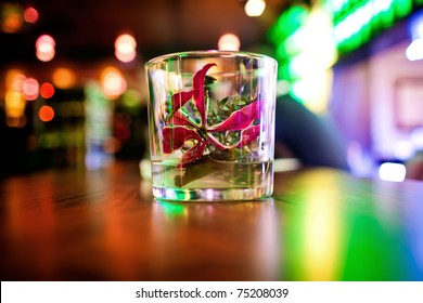 Flower in glass is a part of the restaurant interior