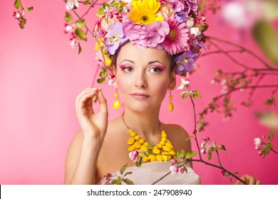 Flower hat spring fashion sexy female in dress