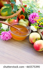 Flower honey, apples and garden flowers. Free space for text