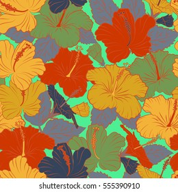 Flower illustration. Seamless pattern with floral motif. Seamless floral pattern with orange, green and yellow hibiscus flowers, watercolor.