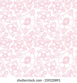Flower ink doodle seamless pattern. Floral background.