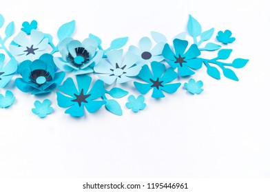 3 D Rendering Composition Blue Paper Flowers Stock Illustration