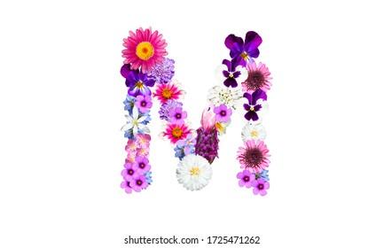 Flower letter (flower font, spring flower): Alphabetical letter M (capital letter)