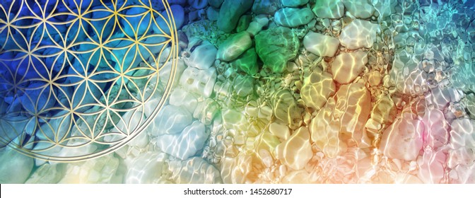 Flower of life in crystal clear, sparkling water with rainbow coloured waves of light, illustrating the perfect flow in the rhythm of life