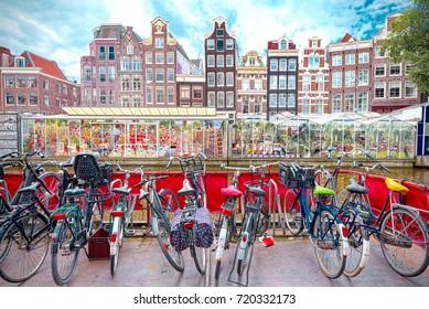 Flower market in Amsterdam (Bloemenmarkt) and bicycles