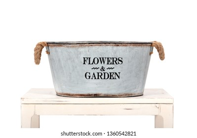 Flower Market metal Bucket on a table over white