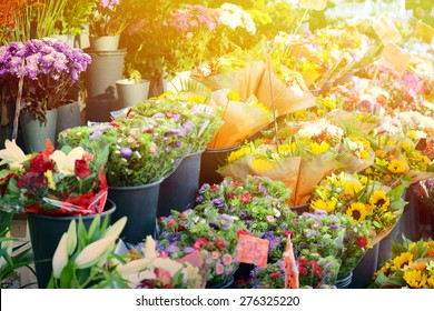 Flower market with various multicolored fresh flowers