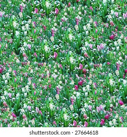 Flower Meadow Seamless Pattern - this image can be composed like tiles endlessly without visible lines between parts
