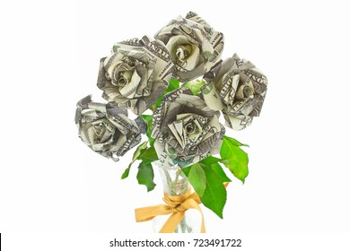 Money Flower Origami Tutorial Dollars DIY Gift Bill Paper A simple ... | 280x390