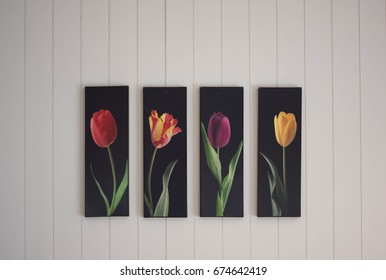 Flower on the white wall art canvas.