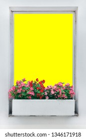 flower on window with isolated die cut path for use as photo picture frame