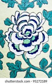 Flower painting on ceramic vase  at Wat Phra Kaew,Thailand