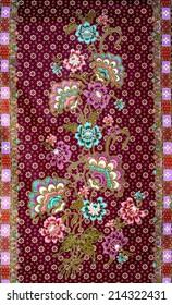 flower pattern background on batik fabric