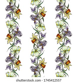 Flower pattern garland of irises, daffodils and lilies