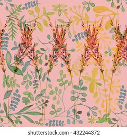 Flower pattern with tropical plants. Watercolor  flower design. Painting for an exotic surface. Ornament fabric. Drawingbackground, 2016, fashionable, seamless, Rose Quartz ,Rose,Peach Echo ,Peach.