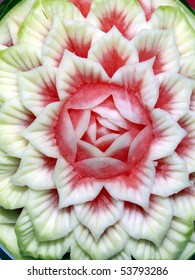 Flower petal sculpture in a juicy watermelon