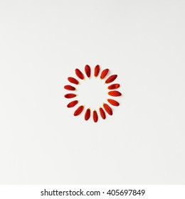 Flower petals arranged in circle. Minimal concept. Flat Lay.