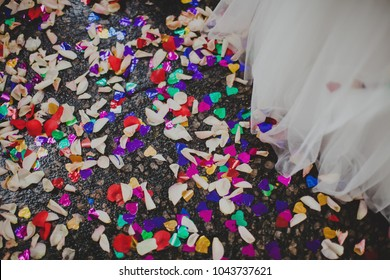 Flower petals on the ground
