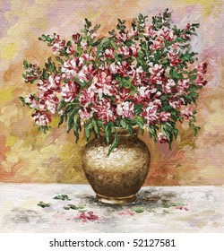flower, picture oil paints on a canvas: bouquet of freesia in a clay pot