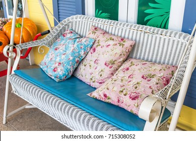 Flower Pillow on Bench Swing. In the seat to relax.