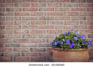 Flower pot in front of a brick wall in the garden