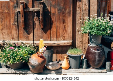 Flower pot in front of Korean old house