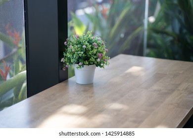 Flower pots are used to decorate the counter on the windows that are glass.