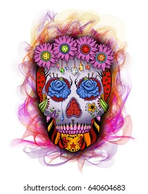 Flower Power Sugar Skull with Flames