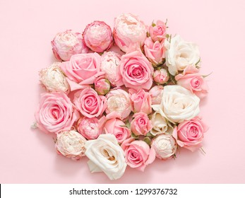 Flower present delivery. Rose circle collage on pink background.