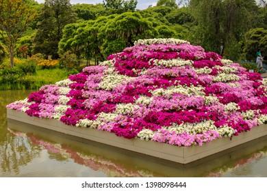 Flower pyramid in Ashikaga flower park in Tochigi prefecture Japan