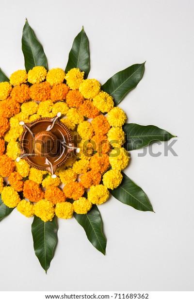 Flower Rangoli Diwali Pongal Festival Made Stock Photo Edit Now 711689362