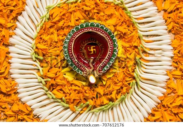 Flower Rangoli Diwali Pongal Onam Made Stock Photo Edit Now 707612176
