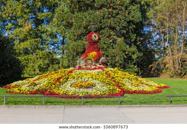 Flower sculpture of a peacock on island Mainau near Lake of Constanz, Germany
