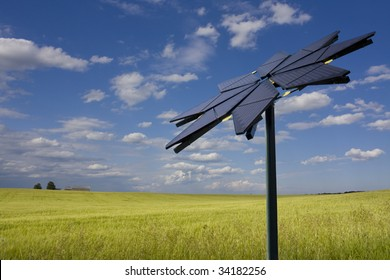 Flower shaped solar panel against rural background