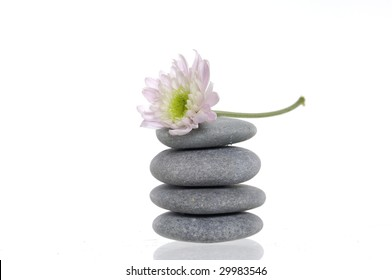 Flower and stack of spa pebbles with reflection