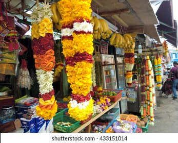 Flower stall selling garlands for temple offerings, Little India, Singapore, South East Asia