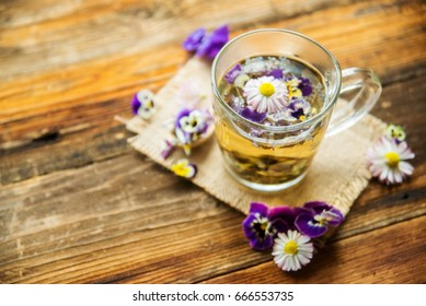 flower tea, herbal tea. pansies - edible flowers