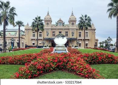 flower terrace at front gate of Casino in Monaco