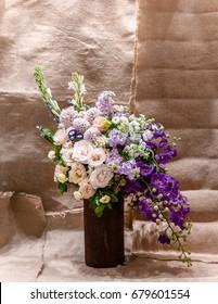 Flower vase, Flower  arrangement with natural texture background.