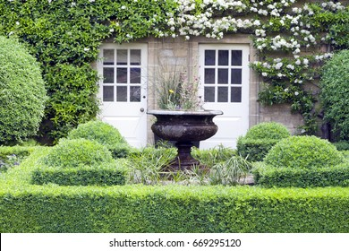 Flower vase in green topiary garden in front of a stone English country house, with two patio doors surrounded by white flowering climbing plant .