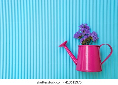 Flower in vase on blue background