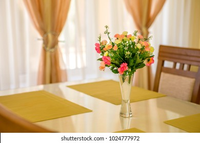 flower in vase on table and window sill background. Vintage style decorate. lifestyle, success concept