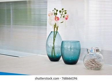 Flower vase on workstation