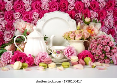 Flower wall aesthetic Mother s Day Valentine wedding high tea setting.