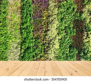 flower wall vertical garden and wood floor