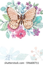 Flower watercolor illustration with butterfly. Beautiful composition, good for design of Mother's Day, wedding, birthday, Valentine's Day, post card. Watercolor colorful background