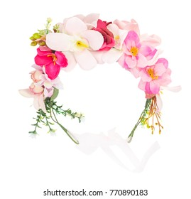 Flower wreath isolated on white background