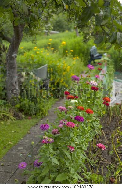 Flowerbed Along Garden Path Cottage Garden Stock Photo Edit Now